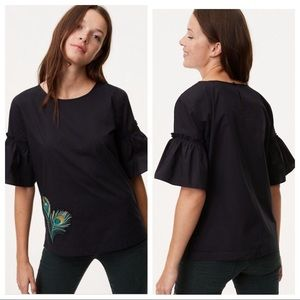 LOFT Embroidered Peacock Feather Top Large NWT